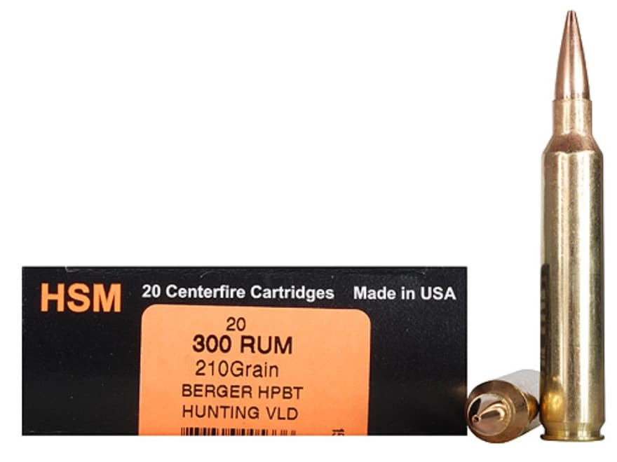 HSM Trophy Gold Ammunition 300 Remington Ultra Magnum 210 Grain Berger Hunting VLD Holl...