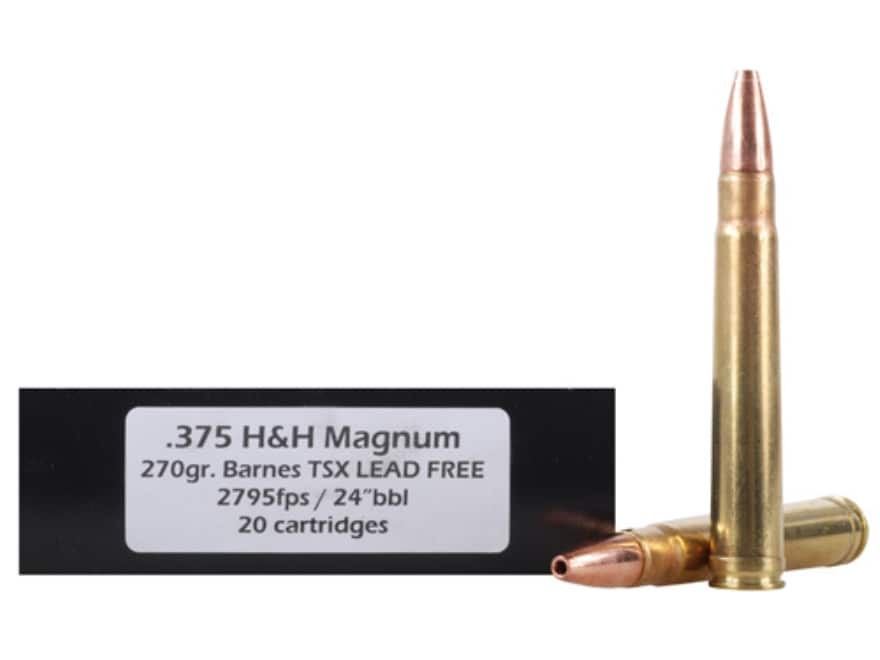 DoubleTap Ammunition 375 H&H Magnum 270 Grain Barnes TSX Hollow Point Lead-Free Box of 20