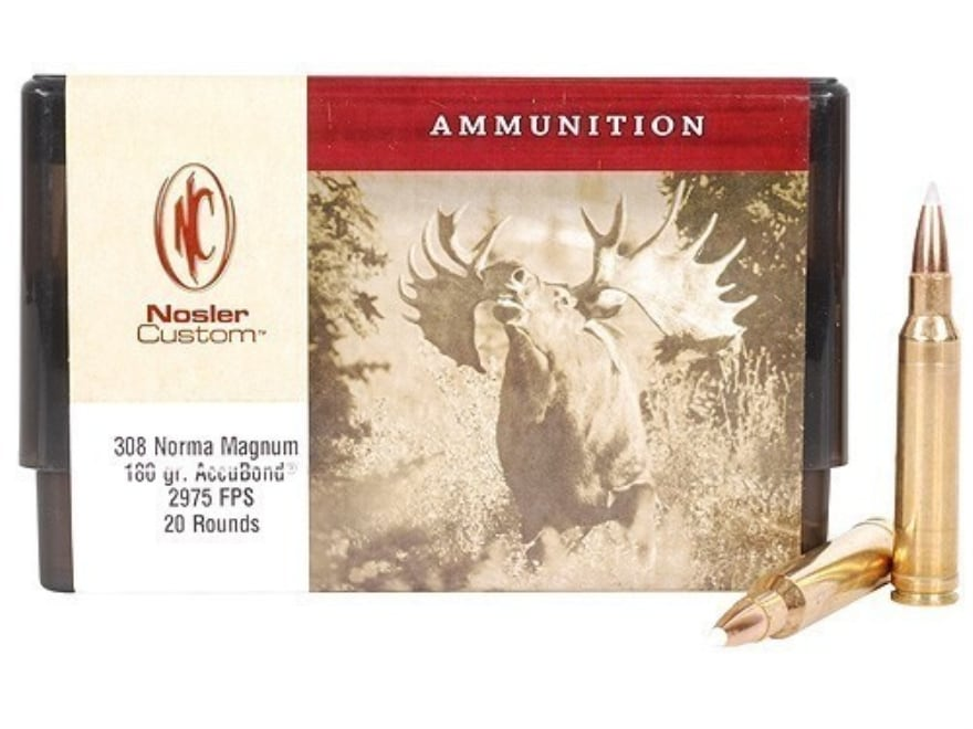 Nosler Custom Ammunition 308 Norma Magnum 180 Grain AccuBond Spitzer Box of 20