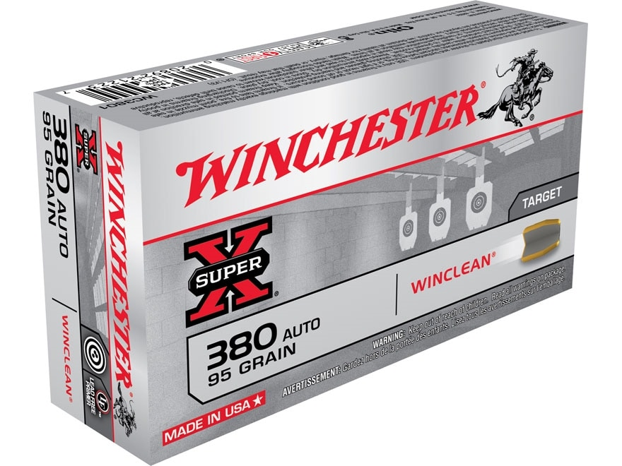 Winchester WinClean Ammunition 380 ACP 95 Grain Brass Enclosed Base