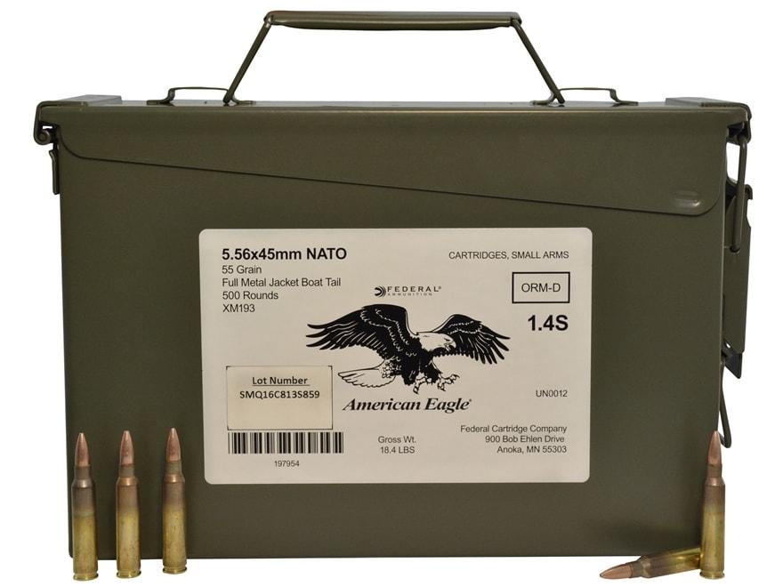 Federal American Eagle Ammunition 5.56x45mm NATO 55 Grain XM193 Full Metal Jacket Boat ...