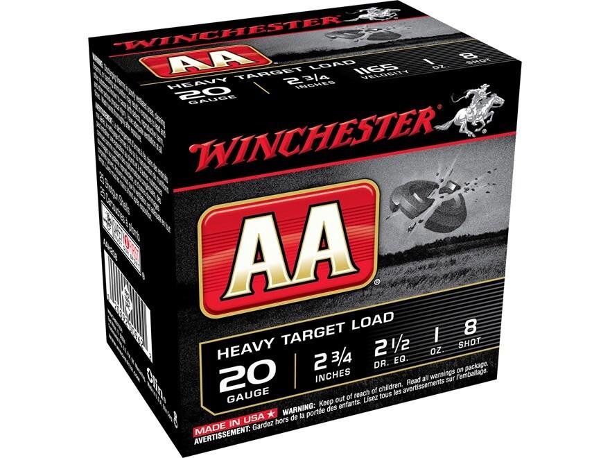 """Winchester AA Heavy Target Ammunition 20 Gauge 2-3/4"""" 1 oz #8 Shot"""