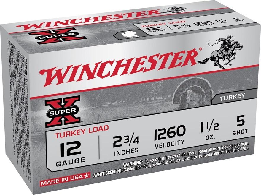 "Winchester Super-X Turkey Ammunition 12 Gauge 2-3/4"" 1-1/2 oz #5 Copper Plated Shot"