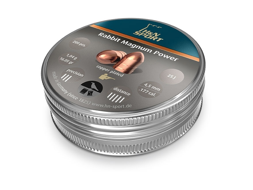 H&N Rabbit Magnum Power Pellets 177 Caliber 16.05 Grain 4.5mm Head-Size Domed Tin of 200