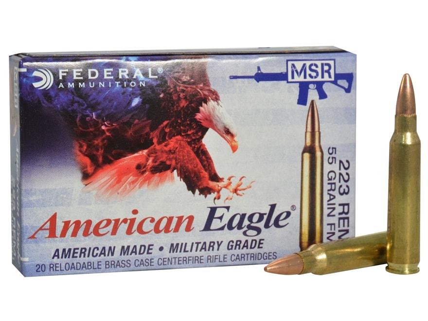 Federal American Eagle MSR Ammunition 223 Remington 55 Grain Full Metal Jacket Boat Tail