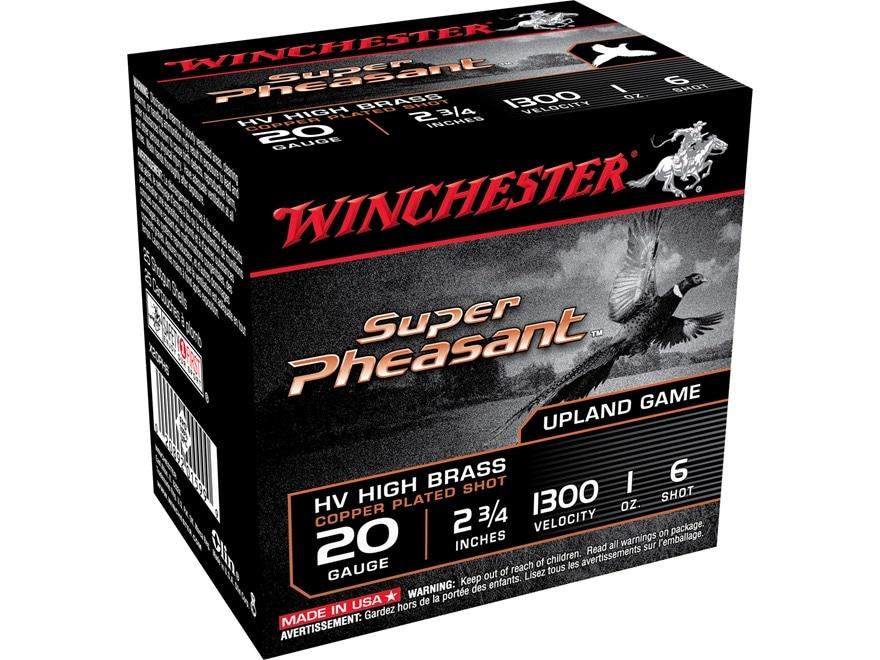 "Winchester Super-X Super Pheasant Ammunition 20 Gauge 2-3/4"" 1oz #6 Copper Plated Shot"