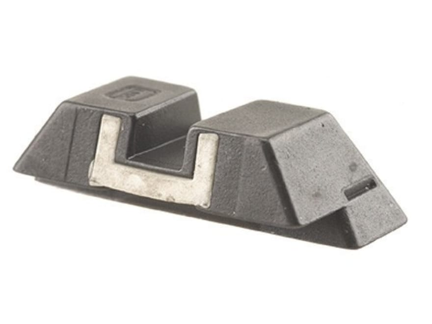 """Glock Square Rear Sight 6.5mm .256"""" Height Steel Black White Outline"""