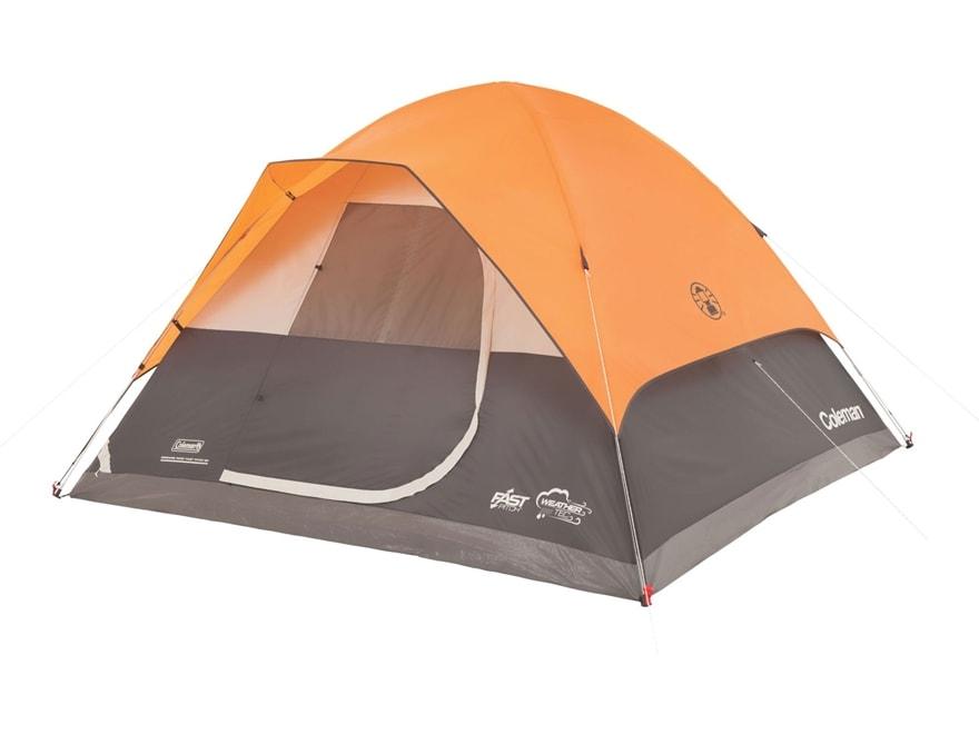 "Coleman Moraine Park Fast Pitch 6 Person Dome Tent 120"" x 120"" x 72"" Polyester Orange a..."