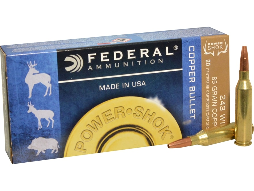 Federal Power-Shok Ammunition 243 Winchester 85 Grain Copper Hollow Point Lead-Free Box...
