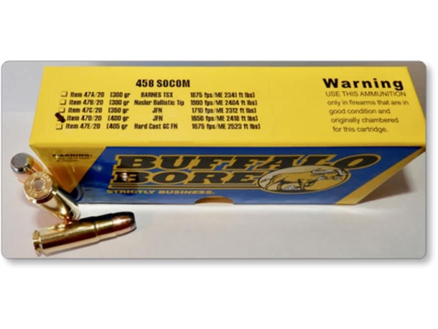 Buffalo Bore Ammunition 458 SOCOM 400 Grain Jacketed Flat Nose Box of 20