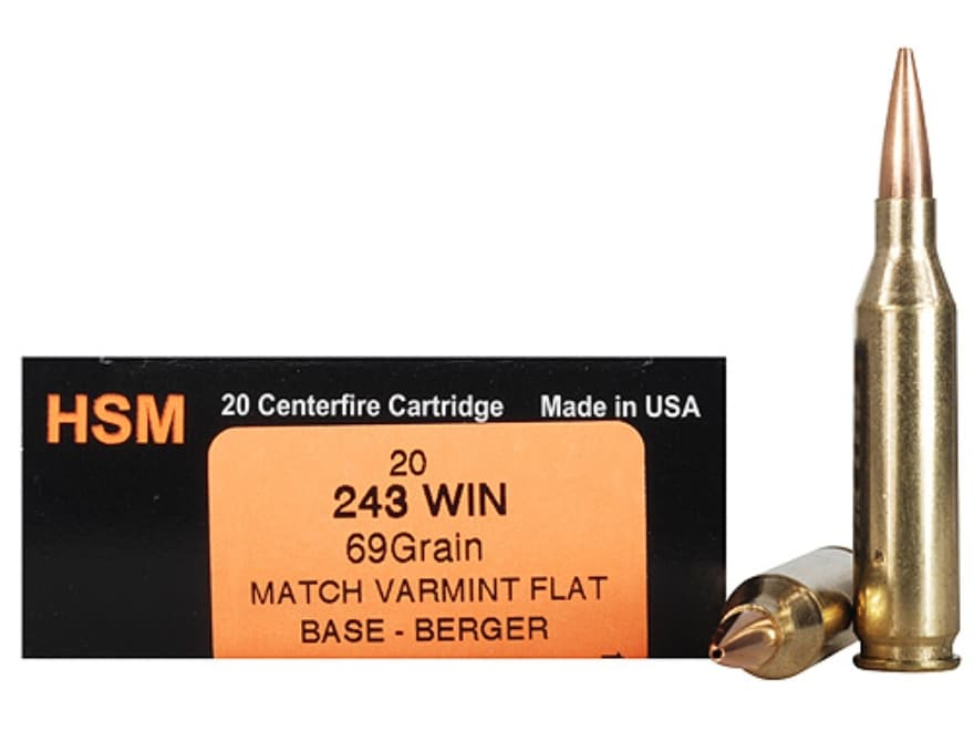 HSM Varmint Gold Ammunition 243 Winchester 69 Grain Berger Varmint Hollow Point Flat Ba...