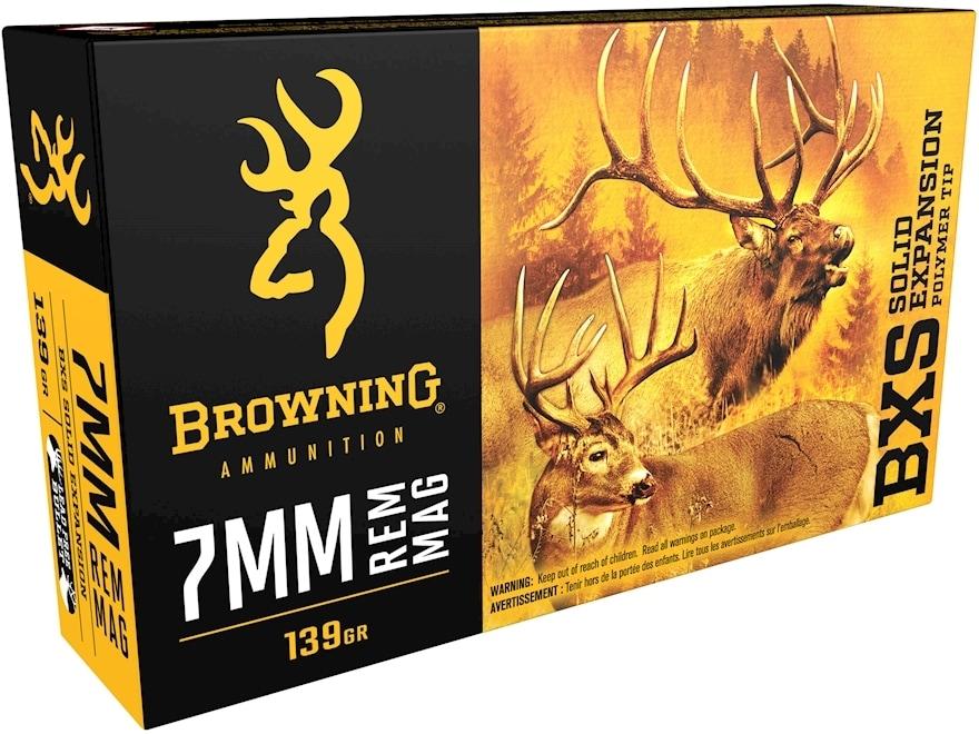 Browning BXS Solid Expansion Ammunition 7mm Remington Magnum 139 Grain Solid Copper Pol...