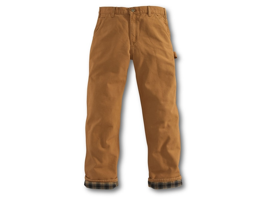 Carhartt Men's Washed Duck Work Dungaree Flannel Lined Pants Cotton
