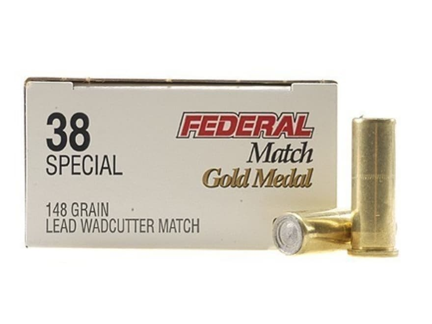 Federal Premium Gold Medal Match Ammunition 38 Special 148 Grain Lead Wadcutter