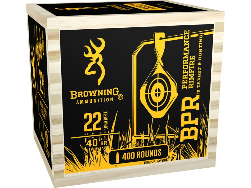 Browning BPR Ammunition 22 Long Rifle 40 Grain Black Plated Lead Round Nose Wood Box
