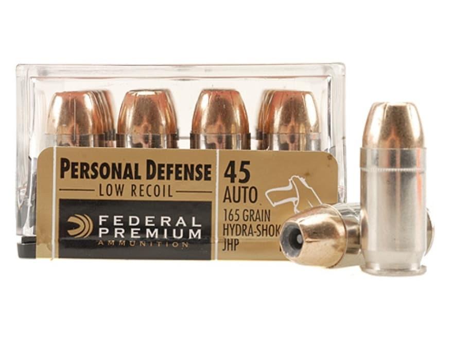 Federal Premium Personal Defense Reduced Recoil Ammunition 45 ACP 165 Grain Hydra-Shok ...