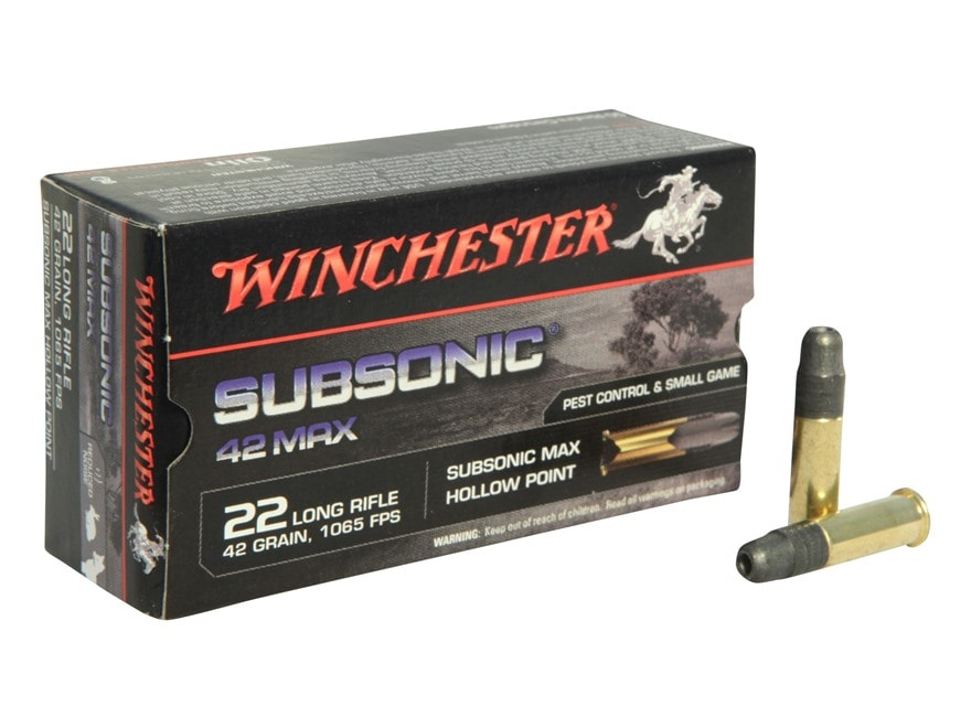 Winchester 42 Max Ammunition 22 Long Rifle Subsonic 42 Grain Lead Hollow Point