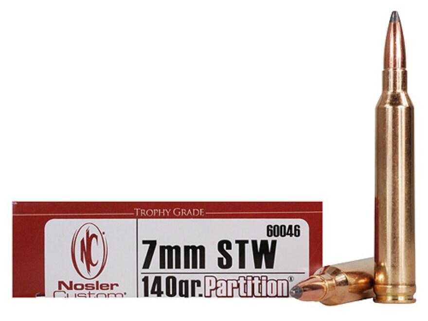 Nosler Trophy Grade Ammunition 7mm STW 140 Grain Partition Box of 20
