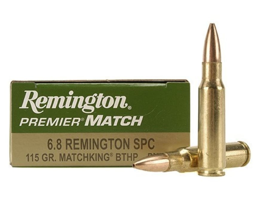 Remington Premier Match Ammunition 6.8mm Remington SPC 115 Grain Sierra MatchKing Hollo...
