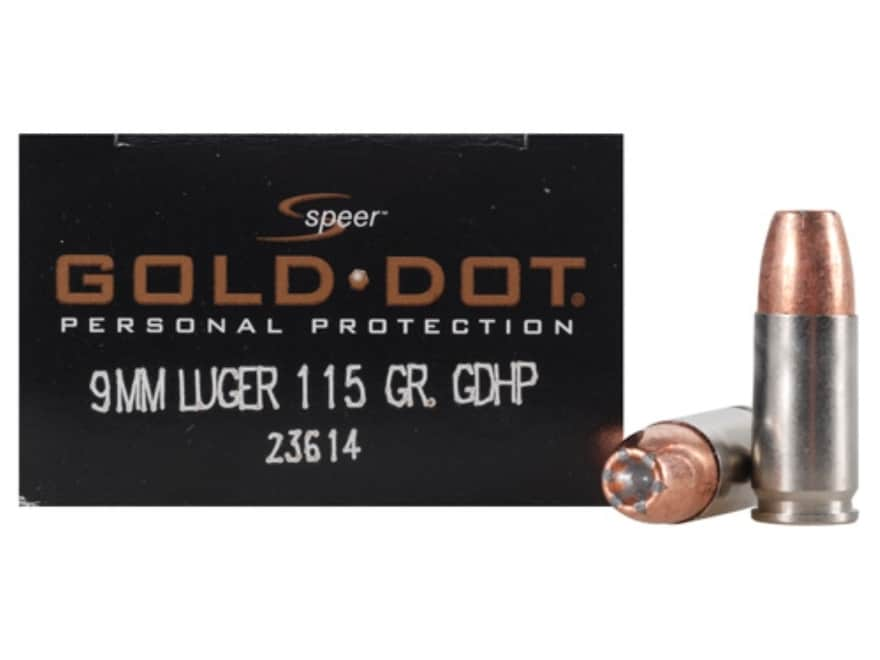 Speer Gold Dot Ammunition 9mm Luger 115 Grain Jacketed Hollow Point