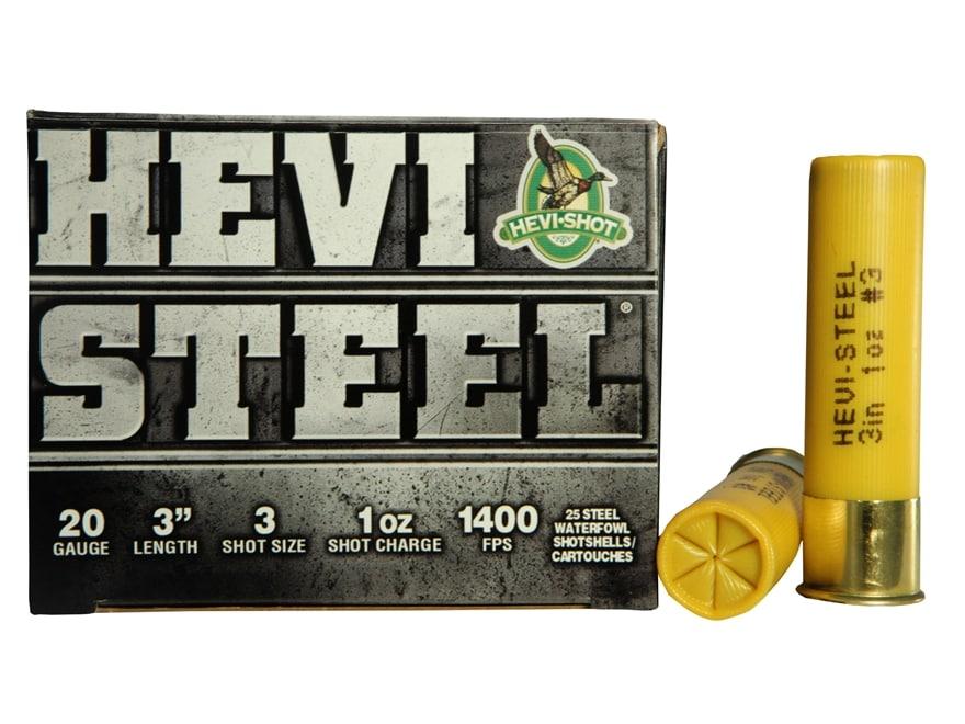 "Hevi-Shot Hevi-Steel Waterfowl Ammunition 20 Gauge 3"" 7/8 oz #3 Non-Toxic Shot"