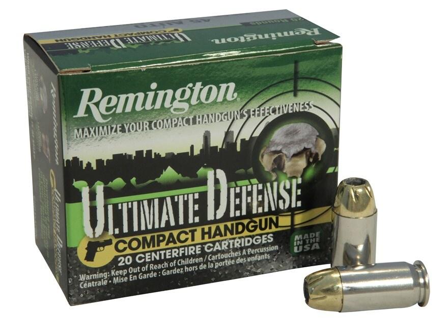 Remington Ultimate Defense Compact Handgun Ammunition 45 ACP 230 Grain Brass Jacketed H...