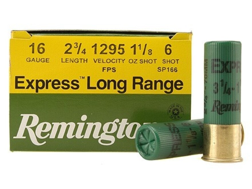 "Remington Express Extra Long Range Ammunition 16 Gauge 2-3/4"" 1-1/8 oz #6 Shot Box of 25"