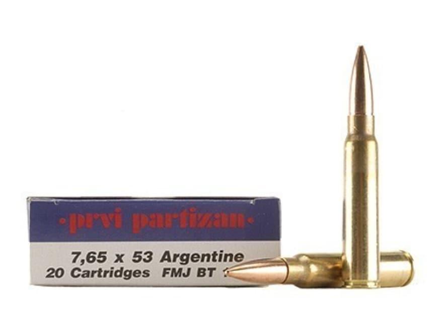 Prvi Partizan Ammunition 7.65mm Argentine Mauser 174 Grain Full Metal Jacket Box of 20