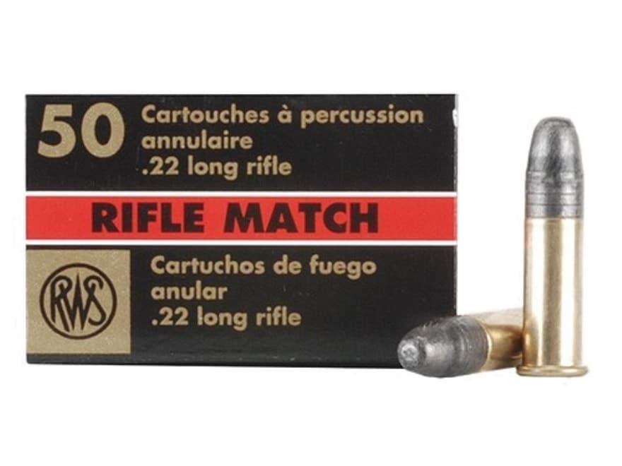 RWS Rifle Match Ammunition 22 Long Rifle 40 Grain Lead Round Nose