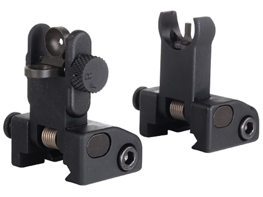 Yankee Hill Machine QDS Quick Deploy Flip up Front and Rear Sight Set Hooded AR-15 Flat...