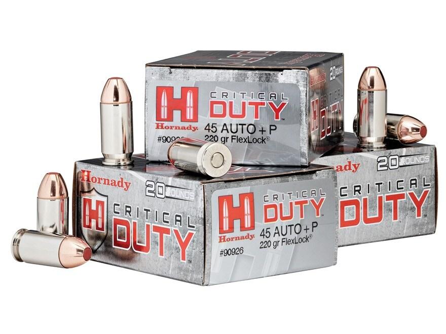 Hornady Critical Duty Ammunition 45 ACP +P 220 Grain FlexLock Box of 20