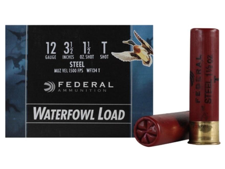 "Federal Speed-Shok Waterfowl Ammunition 12 Gauge 3-1/2"" 1-1/2 oz T Non-Toxic Steel Shot"