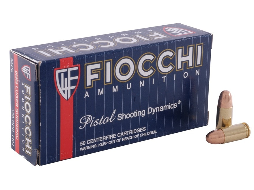Fiocchi Shooting Dynamics Ammunition 9mm Luger Subsonic 158 Grain Full Metal Jacket Box...