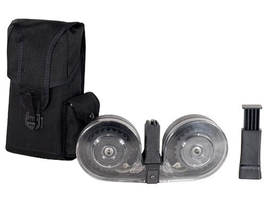 Beta C-Mag Magazine System AR-15 9mm Luger 100-Round Drum Polymer Black with Clear Back...