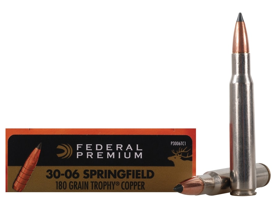 Federal Premium Vital-Shok Ammunition 30-06 Springfield 180 Grain Trophy Copper Tipped ...