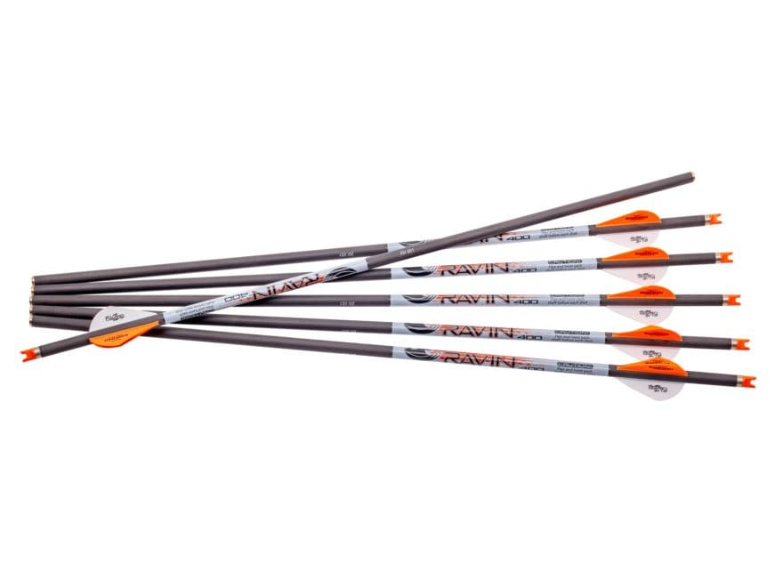 """Ravin 20"""" Carbon Crossbow Bolt 2"""" Vanes .001 Straightness Black Pack of 6"""