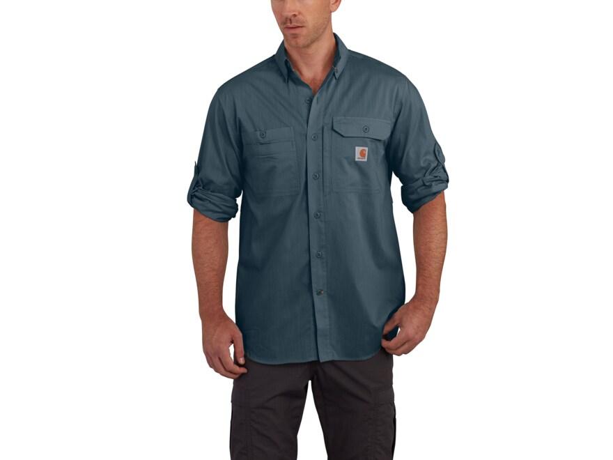 Carhartt Men's Force Ridgefield Solid Button-Up Shirt Long Sleeve Polyester/Cotton