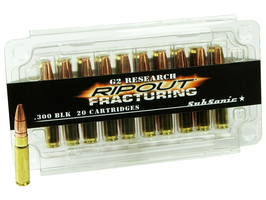 G2 Research RIP-OUT Ammunition 300 AAC Blackout Subsonic 200 Grain Fracturing Solid Cop...