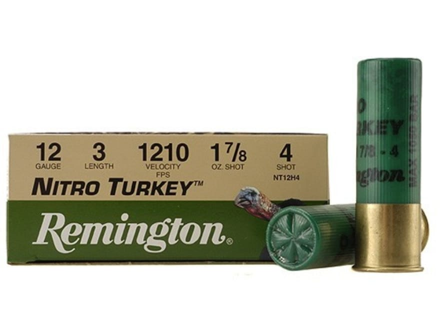 "Remington Nitro Turkey Ammunition 12 Gauge 3"" 1-7/8 oz of #4 Buffered Shot Box of 10"
