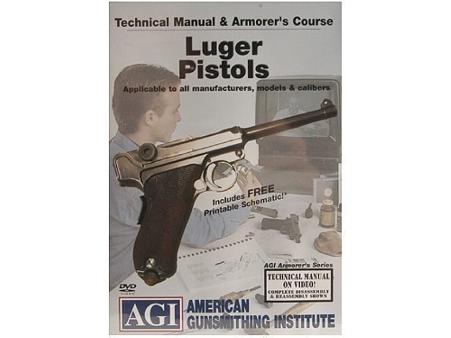 """American Gunsmithing Institute (AGI) Technical Manual & Armorer's Course Video """"Luger P..."""