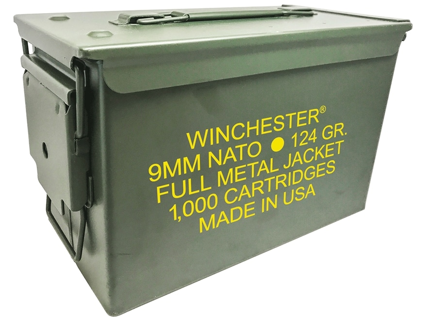 Winchester NATO Ammunition 9mm Luger 124 Grain Full Metal Jacket Ammo Can of 1000 (20 B...