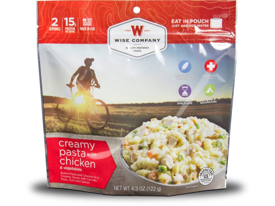 Wise Company Outdoor Creamy Pasta and Vegetables with Chicken Freeze Dried Food Pack of 6