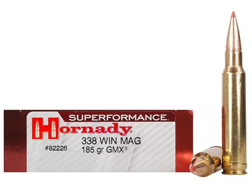Hornady Superformance GMX Ammunition 338 Winchester Magnum 185 Grain GMX Boat Tail Lead...