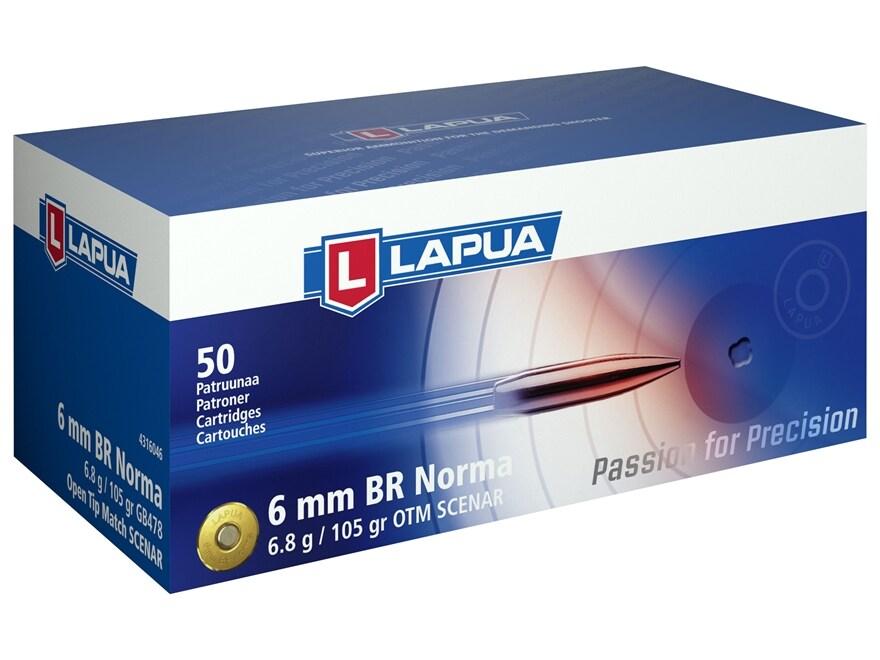 Lapua Scenar Ammunition 6mm Norma BR (Bench Rest) 105 Grain Hollow Point Boat Tail Box ...