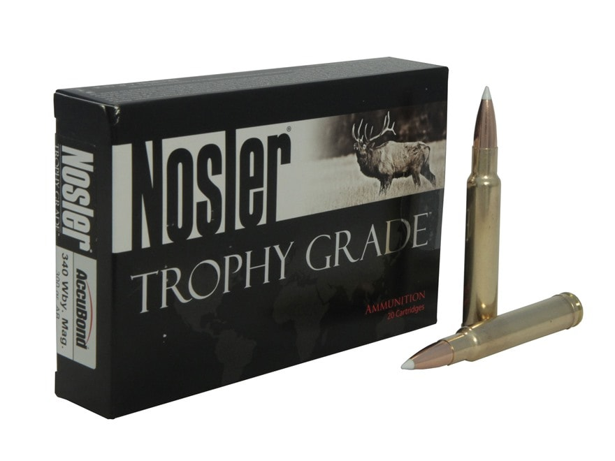 Nosler Trophy Grade Ammunition 340 Weatherby Magnum 300 Grain AccuBond Long Range Box o...