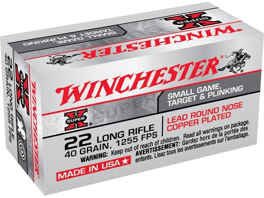 Winchester Super-X Ammunition 22 Long Rifle 40 Grain Plated Lead Round Nose