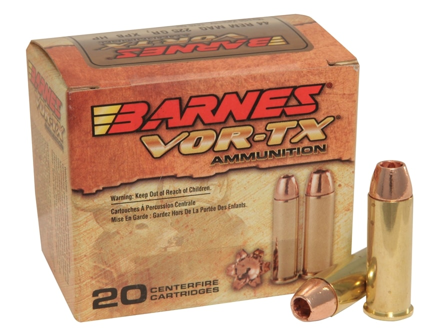 Barnes VOR-TX Ammunition 44 Remington Magnum 225 Grain XPB Hollow Point Lead-Free Box o...