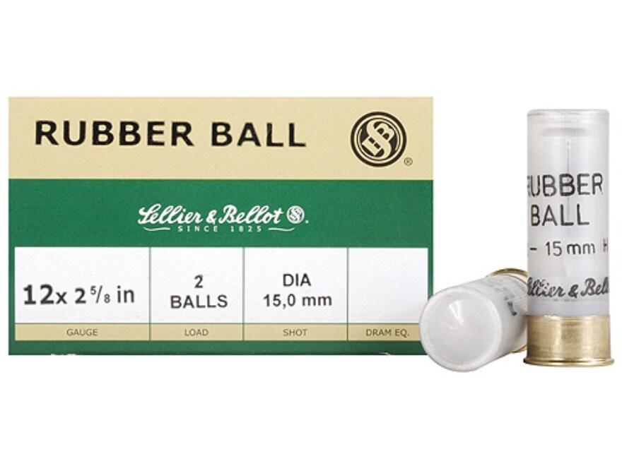 """Sellier & Bellot Ammunition 12 Gauge 2-5/8"""" 15mm Double Rubber Balls Box of 25"""
