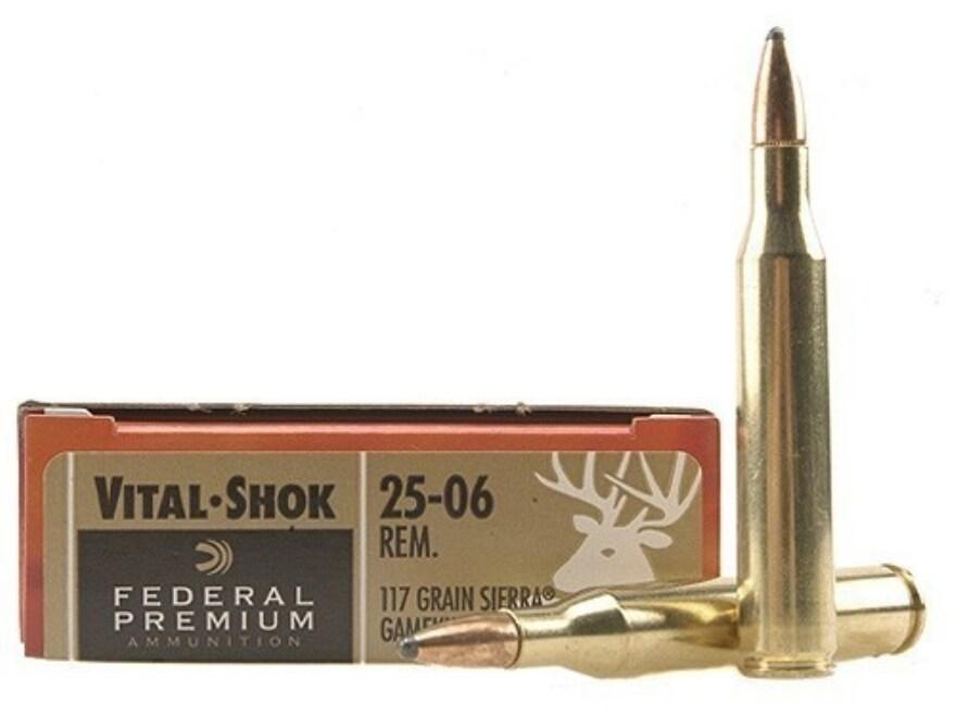Federal Premium Vital-Shok Ammunition 25-06 Remington 117 Grain Sierra GameKing Soft Po...
