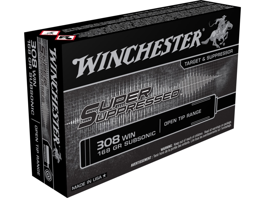 Winchester Super Suppressed Ammunition 308 Winchester Subsonic 185 Grain Full Metal Jac...